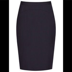 NWT Reiss wool blend straight navy check skirt